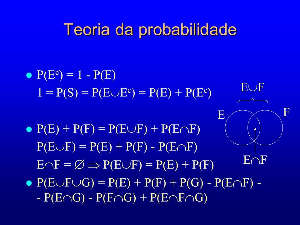 Teoria da probabilidade l P(E c ) = 1 - P(E) 1 = P(S) = P(E E c ) = P(E) + P(E c ) l P(E) + P(F) = P(E F) + P(E F) P(E F) = P(E) + P(F) - P(E F) E F = P(E F) = P(E) + P(F) l P(E F G) = P(E) + P(F) + P(G) - P(E F) - - P(E G) - P(F G) + P(E F G) F E E F