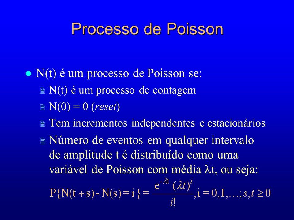 Processo de Poisson l N(t) é um processo de Poisson se: 2 N(t) é um processo de contagem 2 N(0) = 0 (reset) 2 Tem incrementos independentes e estacionários Número de eventos em qualquer intervalo de amplitude t é distribuído como uma variável de Poisson com média t, ou seja:
