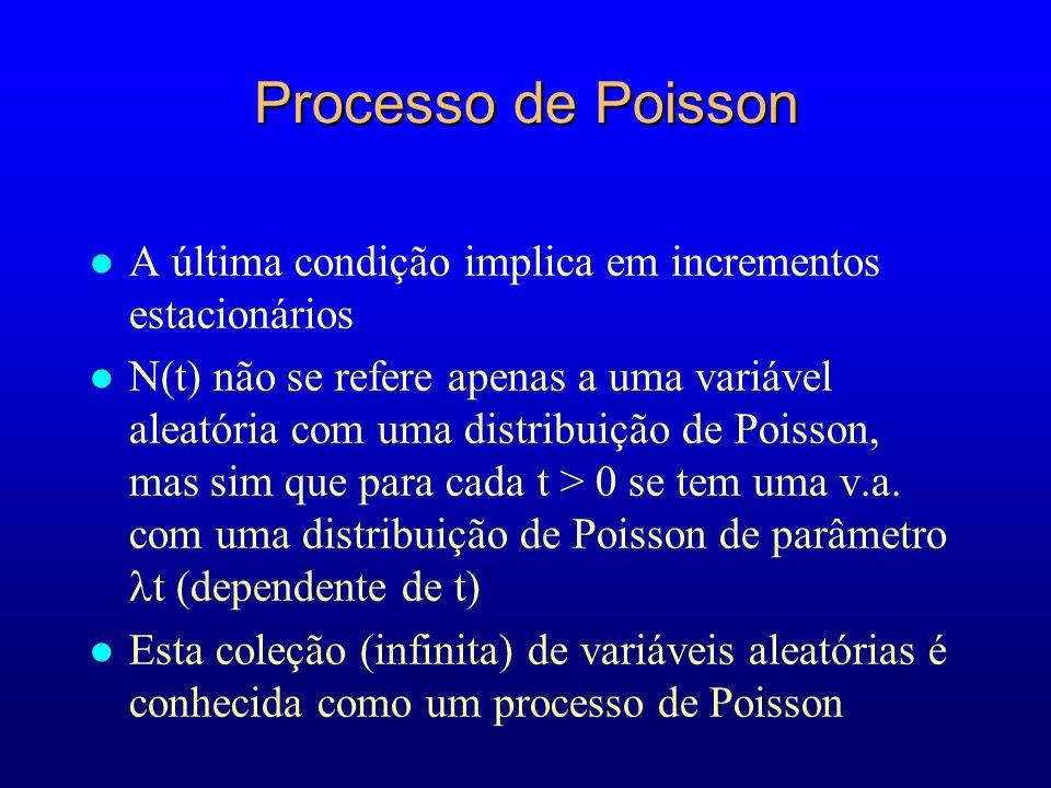 Processo de Poisson l A última condição implica em incrementos estacionários N(t) não se refere apenas a uma variável aleatória com uma distribuição de Poisson, mas sim que para cada t > 0 se tem uma v.a.