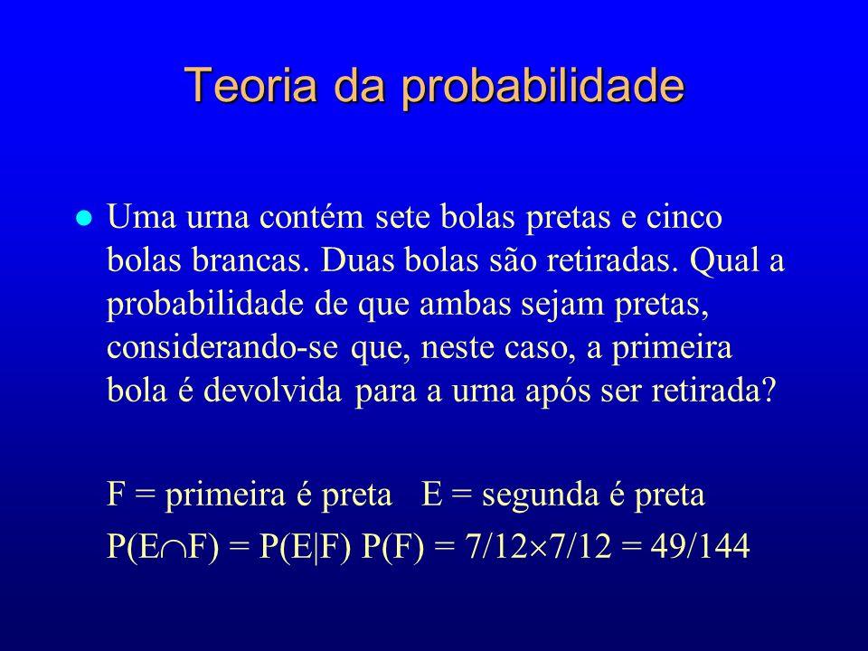 Teoria da probabilidade l Uma urna contém sete bolas pretas e cinco bolas brancas.