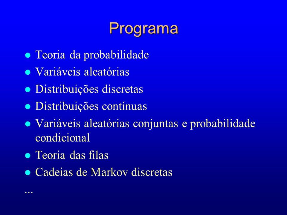 Programa l Teoria da probabilidade l Variáveis aleatórias l Distribuições discretas l Distribuições contínuas l Variáveis aleatórias conjuntas e probabilidade condicional l Teoria das filas l Cadeias de Markov discretas...