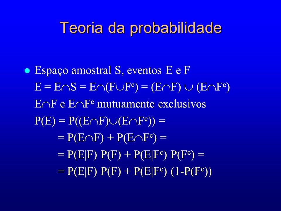 Teoria da probabilidade l Espaço amostral S, eventos E e F E = E S = E (F F c ) = (E F) (E F c ) E F e E F c mutuamente exclusivos P(E) = P((E F) (E F c )) = = P(E F) + P(E F c ) = = P(E|F) P(F) + P(E|F c ) P(F c ) = = P(E|F) P(F) + P(E|F c ) (1-P(F c ))