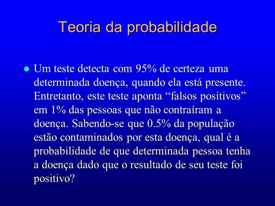 Teoria da probabilidade l Um teste detecta com 95% de certeza uma determinada doença, quando ela está presente.