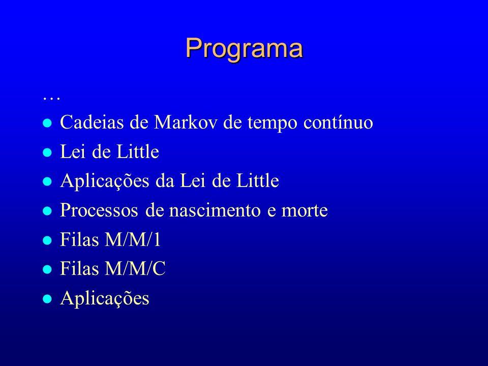 Programa … l Cadeias de Markov de tempo contínuo l Lei de Little l Aplicações da Lei de Little l Processos de nascimento e morte l Filas M/M/1 l Filas M/M/C l Aplicações