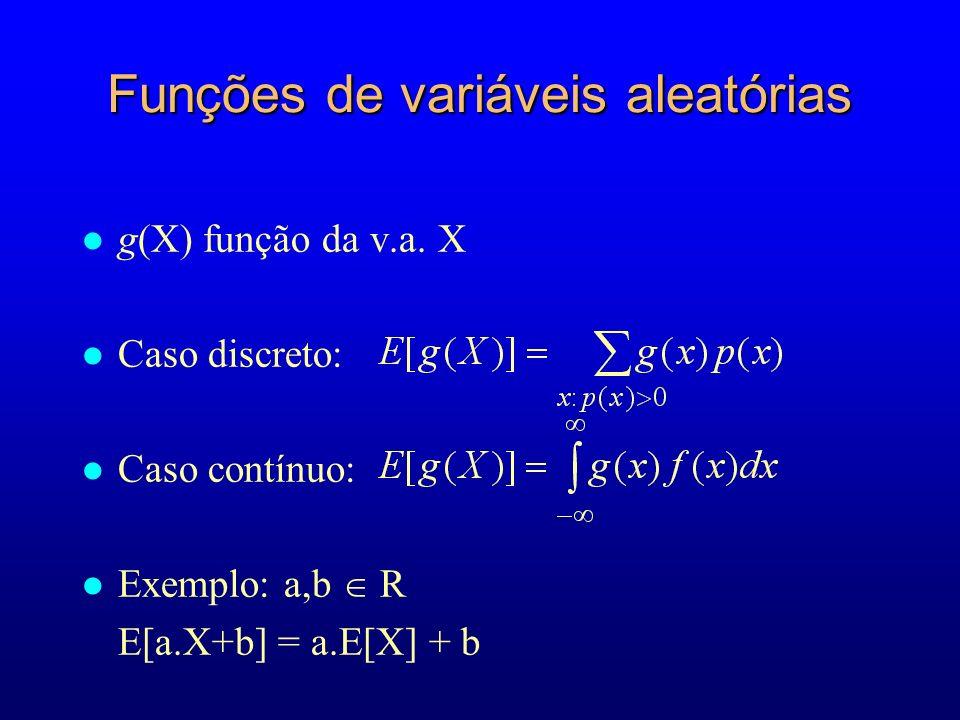Funções de variáveis aleatórias l g(X) função da v.a.