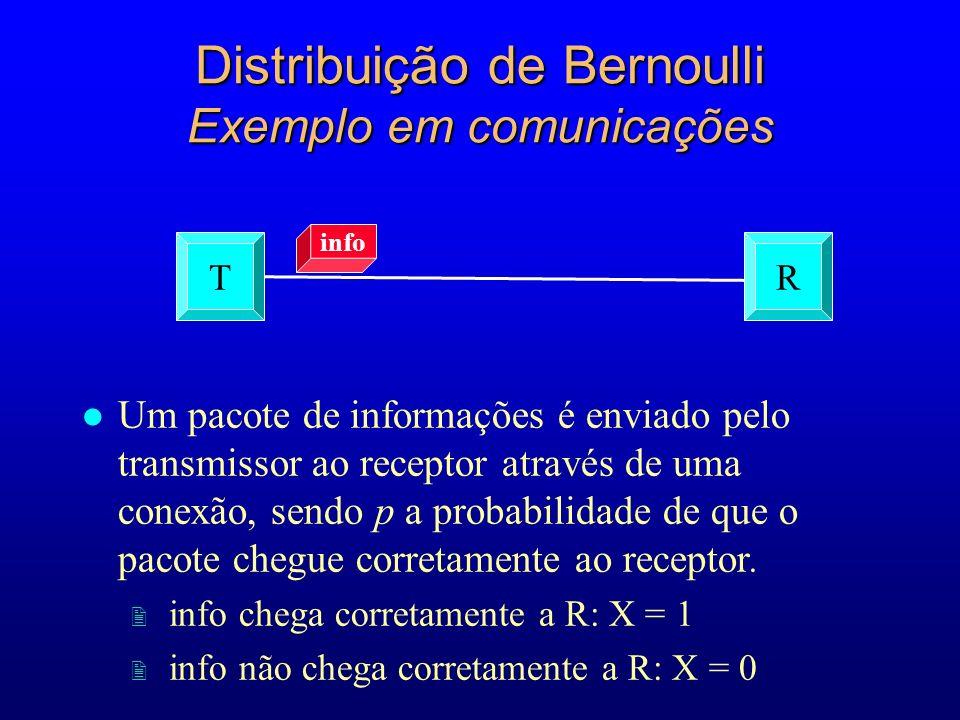 l Um pacote de informações é enviado pelo transmissor ao receptor através de uma conexão, sendo p a probabilidade de que o pacote chegue corretamente ao receptor.