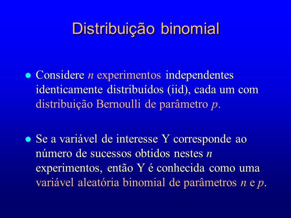 Distribuição binomial l Considere n experimentos independentes identicamente distribuídos (iid), cada um com distribuição Bernoulli de parâmetro p.