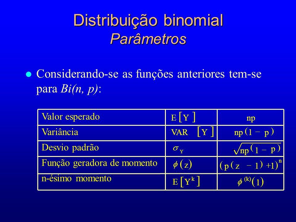l Considerando-se as funções anteriores tem-se para Bi(n, p): Distribuição binomial Parâmetros EYnp VARYnp1p 1 p z pz11 EY Y k Valor esperado Variância Desvio padrão Função geradora de momento n-ésimo momento n 1 (k)