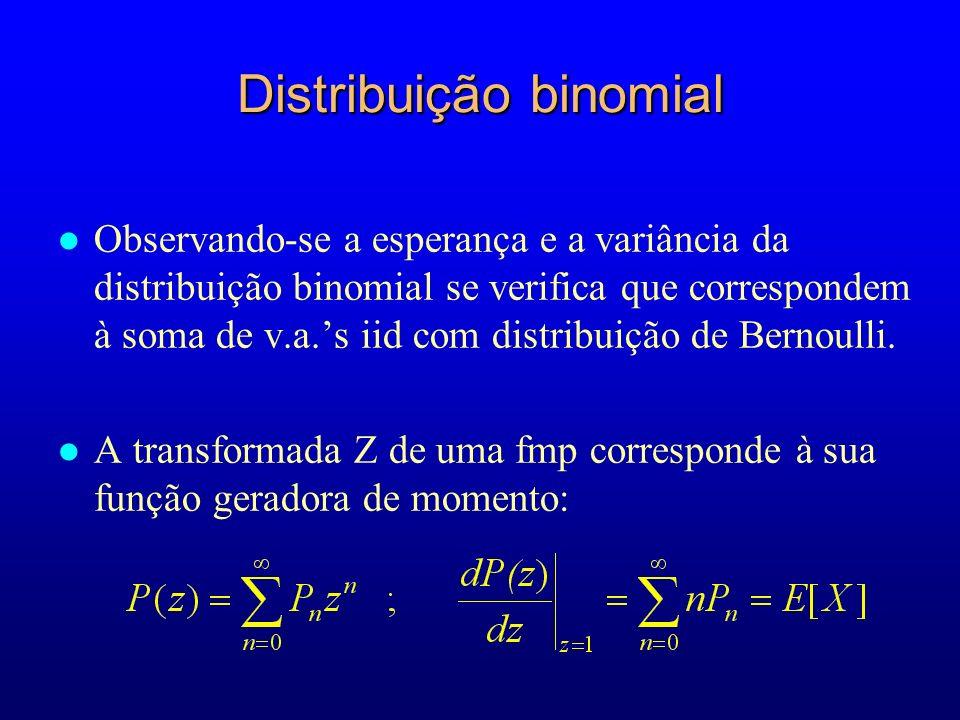 l Observando-se a esperança e a variância da distribuição binomial se verifica que correspondem à soma de v.a.s iid com distribuição de Bernoulli.
