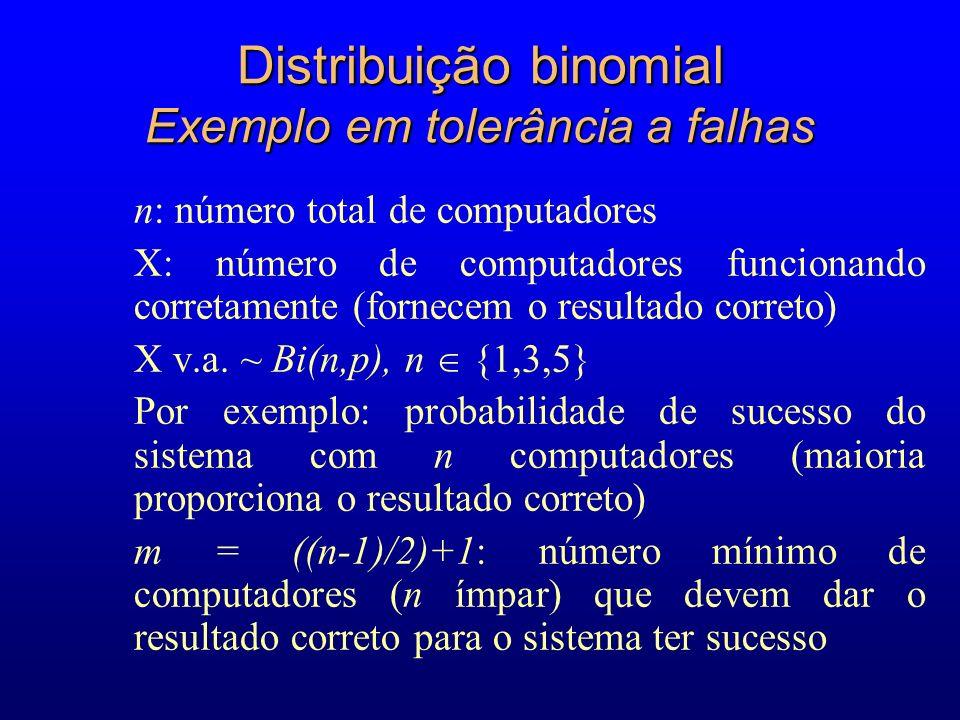 n: número total de computadores X: número de computadores funcionando corretamente (fornecem o resultado correto) X v.a.