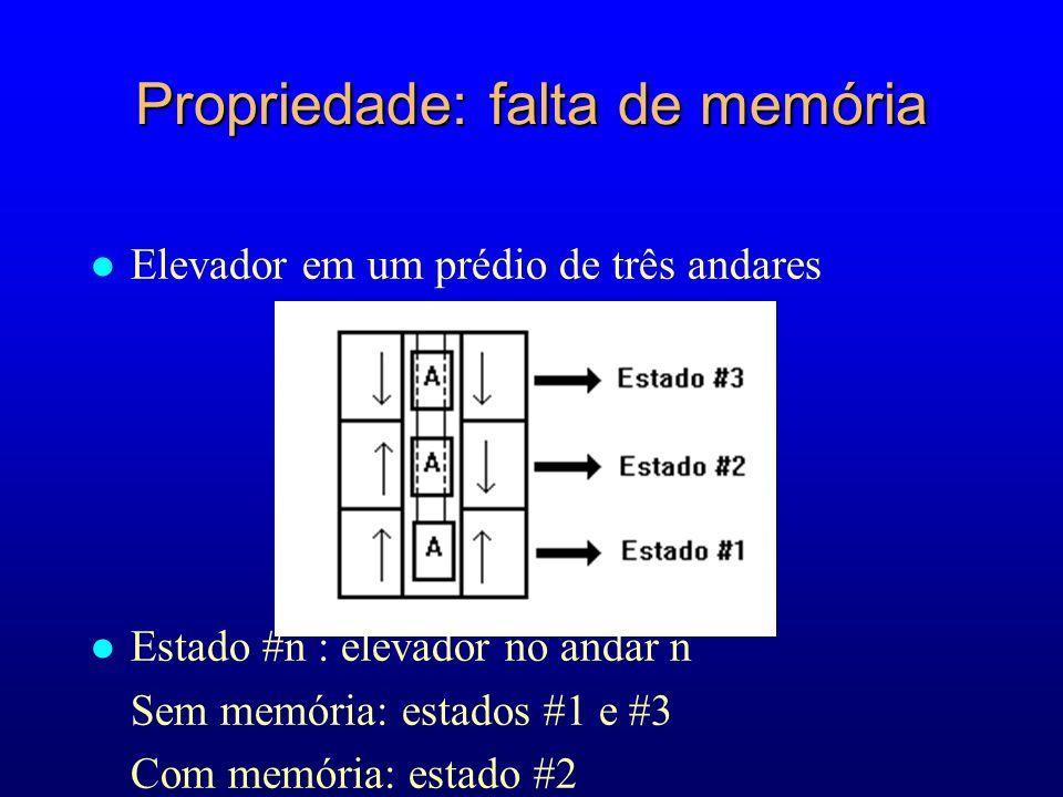 Propriedade: falta de memória l Elevador em um prédio de três andares l Estado #n : elevador no andar n Sem memória: estados #1 e #3 Com memória: estado #2