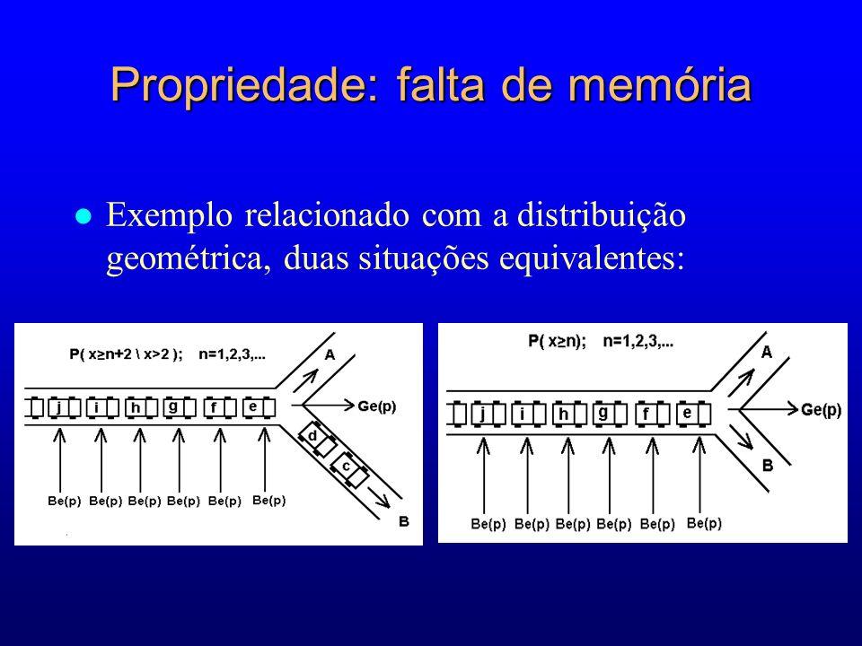 Propriedade: falta de memória l Exemplo relacionado com a distribuição geométrica, duas situações equivalentes: