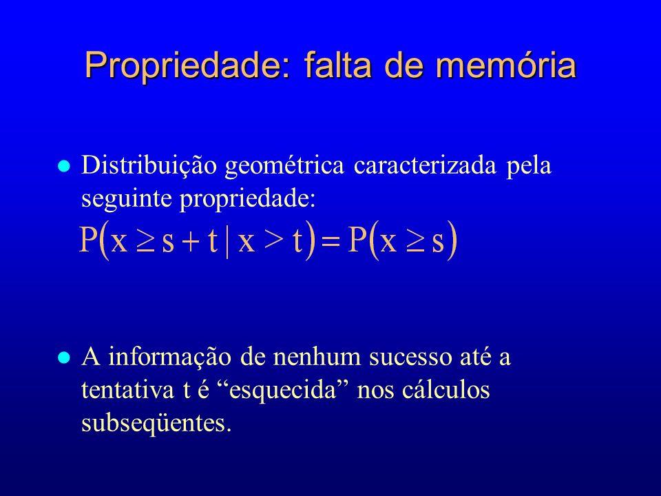 Propriedade: falta de memória l Distribuição geométrica caracterizada pela seguinte propriedade: l A informação de nenhum sucesso até a tentativa t é esquecida nos cálculos subseqüentes.