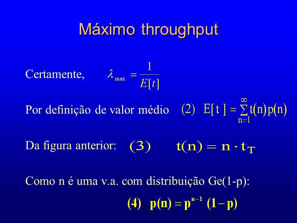 Máximo throughput Certamente, Por definição de valor médio Da figura anterior: Como n é uma v.a.