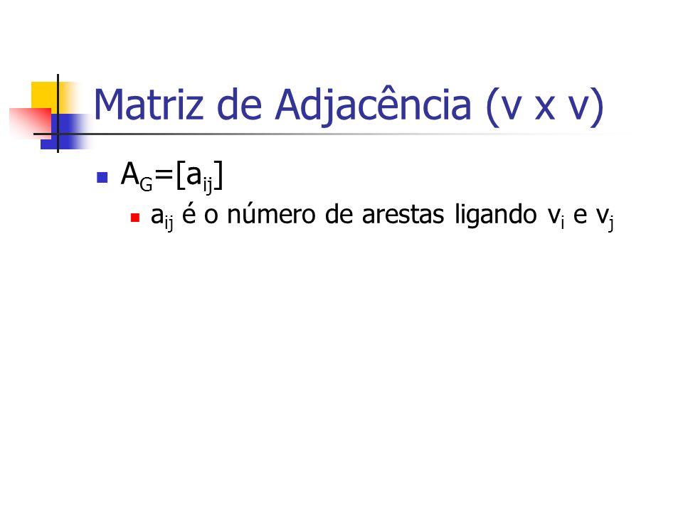 A G =[a ij ] a ij é o número de arestas ligando v i e v j Matriz de Adjacência (v x v)