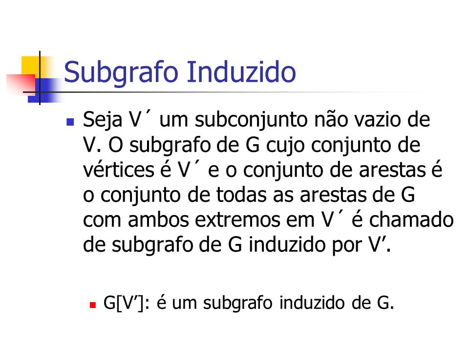 Subgrafo Induzido Seja V´ um subconjunto não vazio de V. O subgrafo de G cujo conjunto de vértices é V´ e o conjunto de arestas é o conjunto de todas
