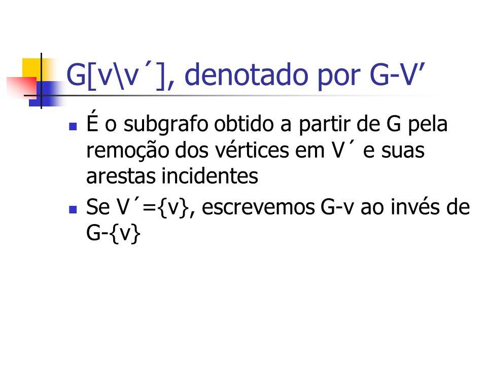 G[v\v´], denotado por G-V É o subgrafo obtido a partir de G pela remoção dos vértices em V´ e suas arestas incidentes Se V´={v}, escrevemos G-v ao inv