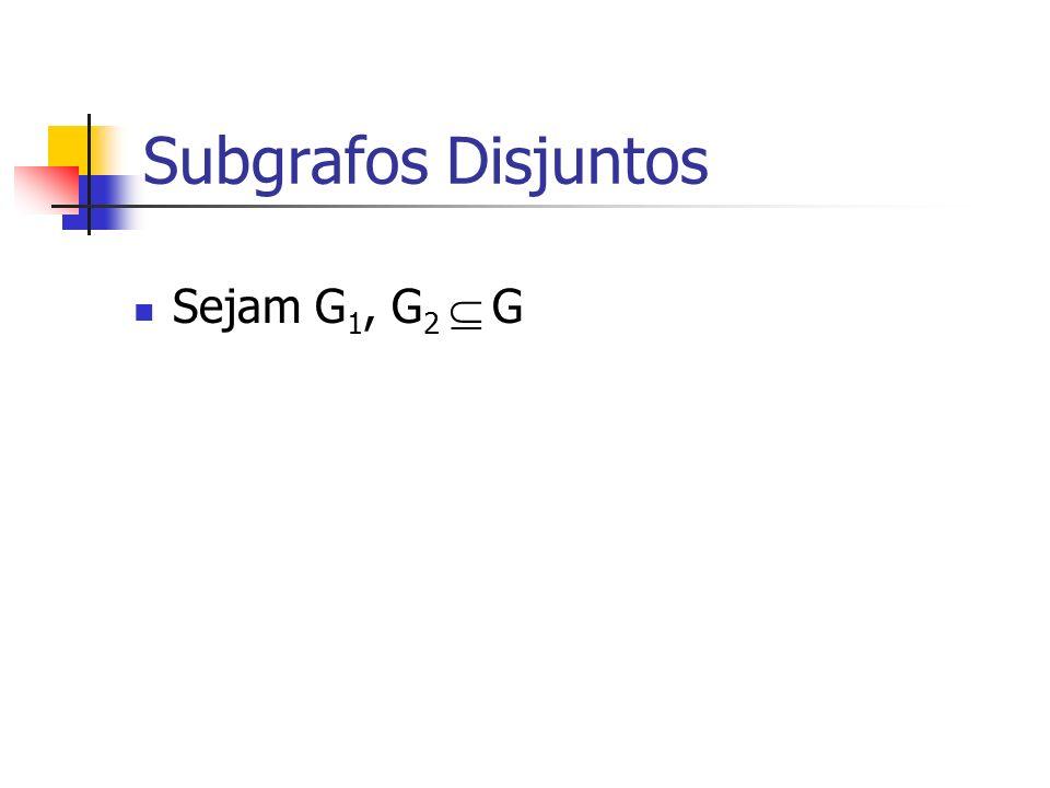Subgrafos Disjuntos Sejam G 1, G 2 G