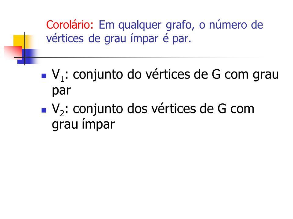 V 1 : conjunto do vértices de G com grau par V 2 : conjunto dos vértices de G com grau ímpar