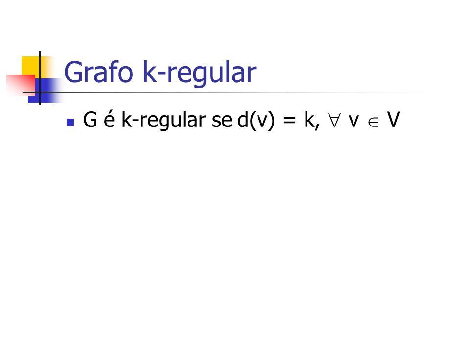 Grafo k-regular G é k-regular se d(v) = k, v V