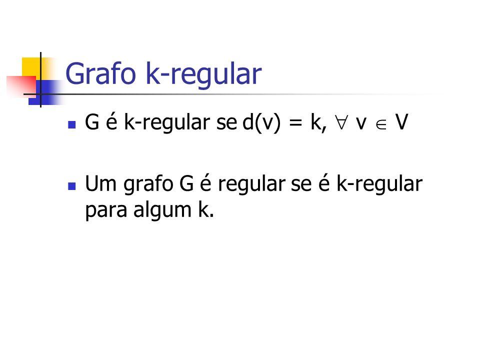 Grafo k-regular G é k-regular se d(v) = k, v V Um grafo G é regular se é k-regular para algum k.