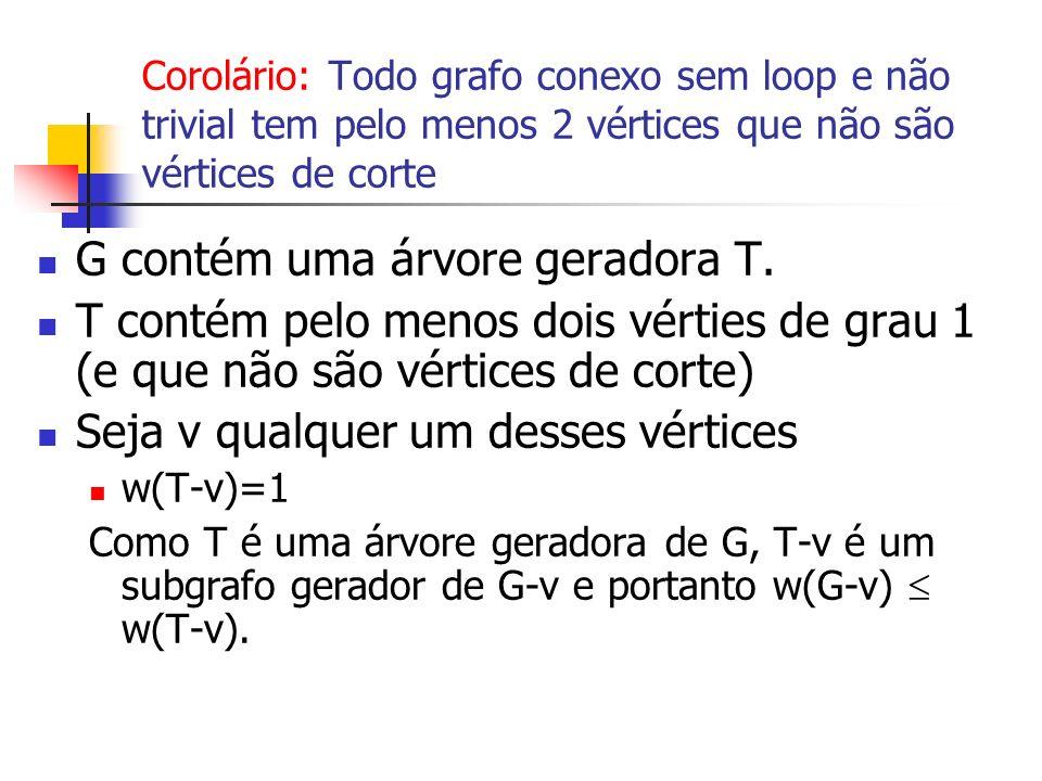 Corolário: Todo grafo conexo sem loop e não trivial tem pelo menos 2 vértices que não são vértices de corte G contém uma árvore geradora T. T contém p