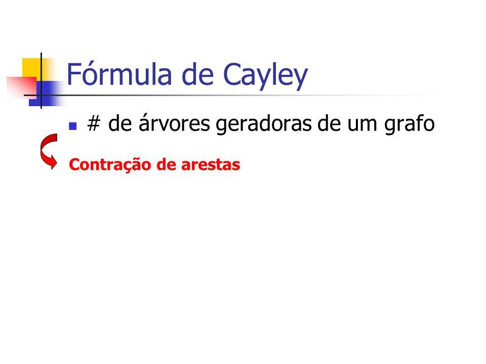 Fórmula de Cayley # de árvores geradoras de um grafo Contração de arestas