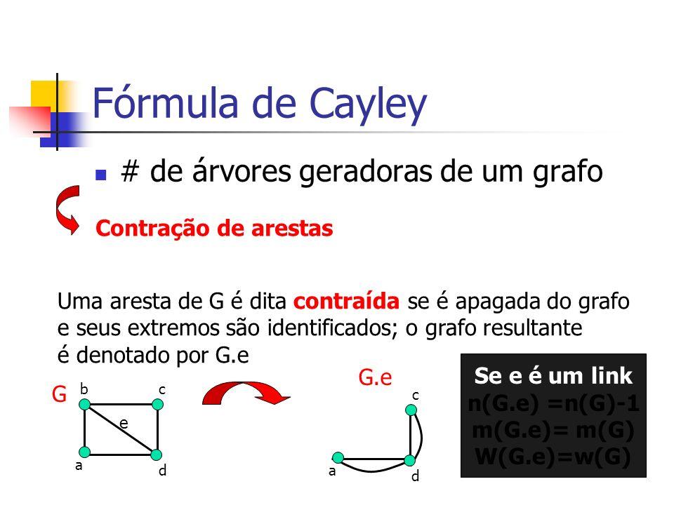 Fórmula de Cayley # de árvores geradoras de um grafo Contração de arestas Uma aresta de G é dita contraída se é apagada do grafo e seus extremos são i