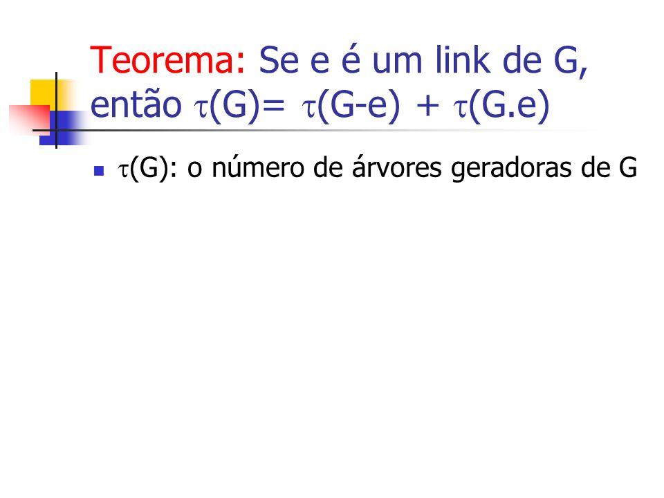 (G): o número de árvores geradoras de G