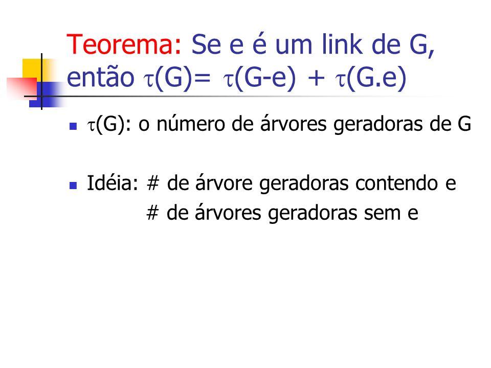 Teorema: Se e é um link de G, então (G)= (G-e) + (G.e) (G): o número de árvores geradoras de G Idéia: # de árvore geradoras contendo e # de árvores ge