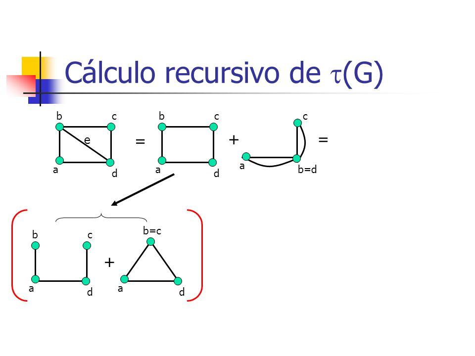 Cálculo recursivo de (G) b a c d e = b a c d + a = b a c d + a d b=c c b=d