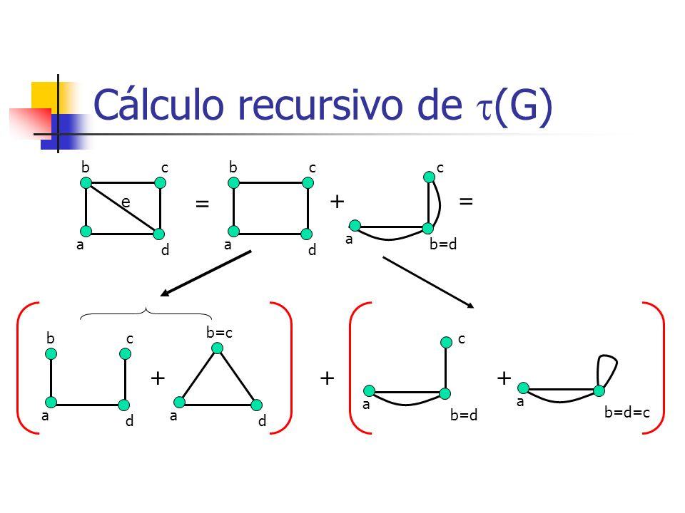 Cálculo recursivo de (G) b a c d e = b a c d + a = b a c d + a d b=c + a c b=d c + a b=d=c