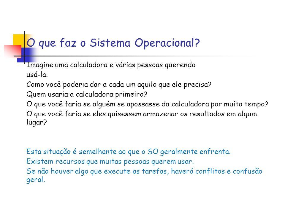 O que faz o Sistema Operacional? Imagine uma calculadora e várias pessoas querendo usá-la. Como você poderia dar a cada um aquilo que ele precisa? Que