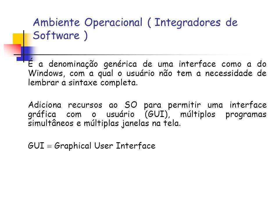 Ambiente Operacional ( Integradores de Software ) É a denominação genérica de uma interface como a do Windows, com a qual o usuário não tem a necessid