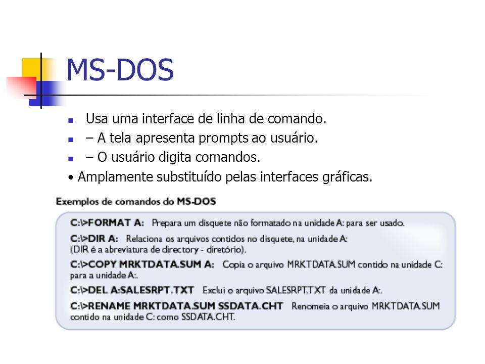 MS-DOS Usa uma interface de linha de comando. – A tela apresenta prompts ao usuário. – O usuário digita comandos. Amplamente substituído pelas interfa
