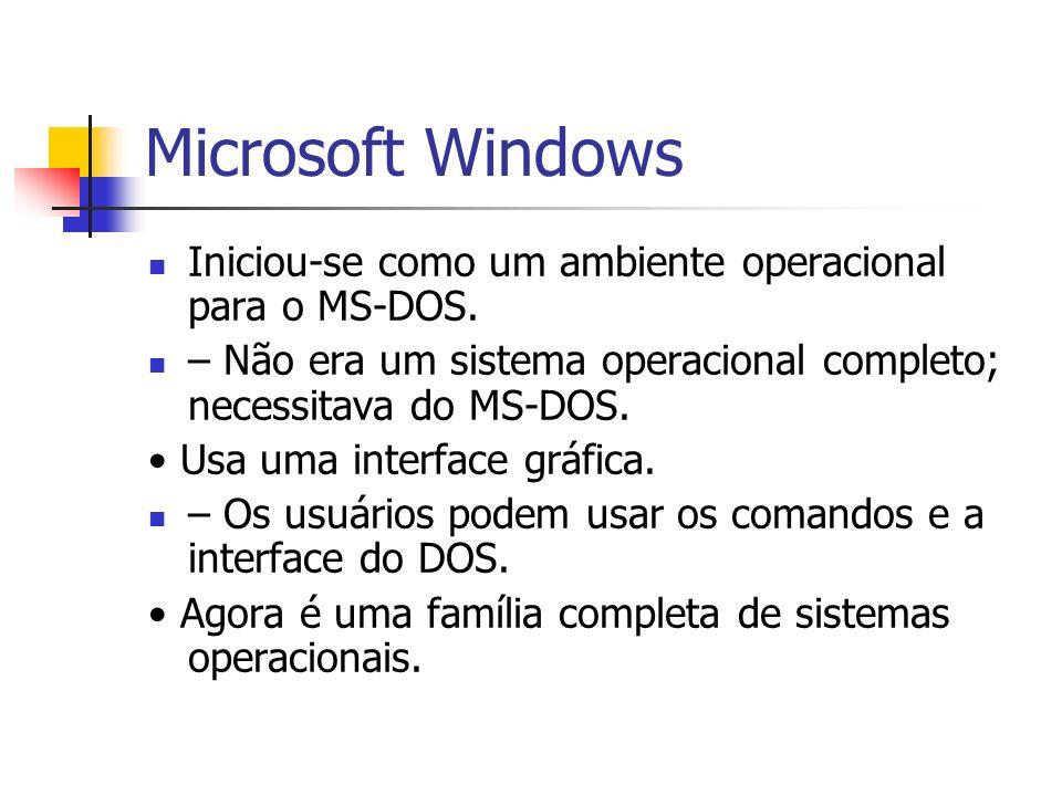 Microsoft Windows Iniciou-se como um ambiente operacional para o MS-DOS. – Não era um sistema operacional completo; necessitava do MS-DOS. Usa uma int