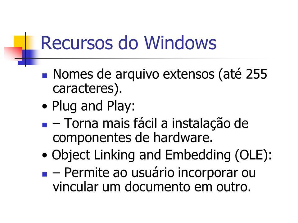 Recursos do Windows Nomes de arquivo extensos (até 255 caracteres). Plug and Play: – Torna mais fácil a instalação de componentes de hardware. Object