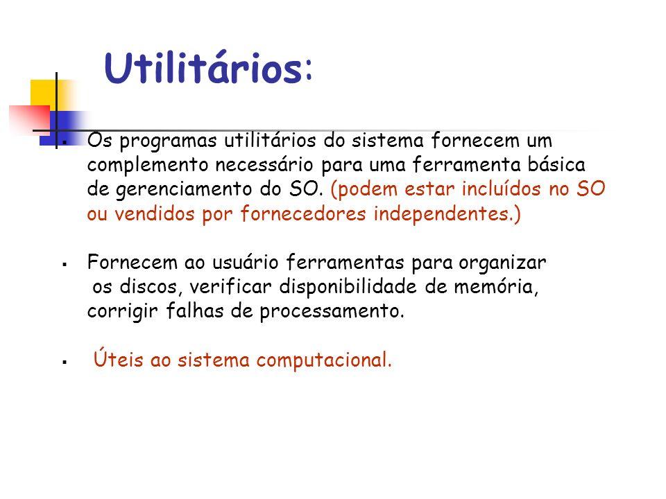 Utilitários: Os programas utilitários do sistema fornecem um complemento necessário para uma ferramenta básica de gerenciamento do SO. (podem estar in