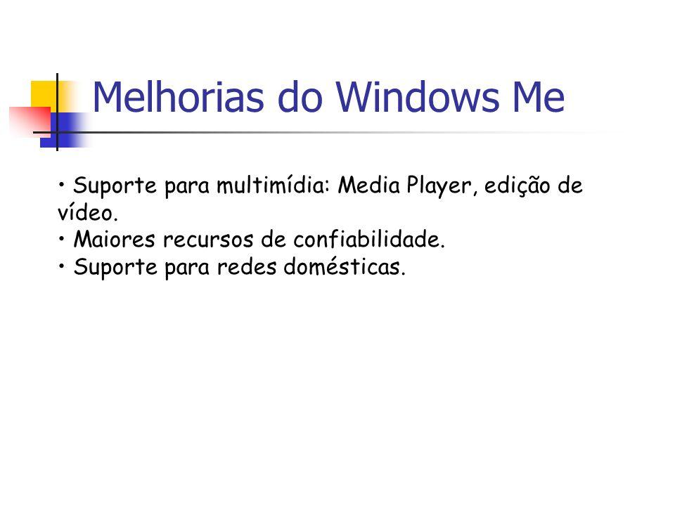 Melhorias do Windows Me Suporte para multimídia: Media Player, edição de vídeo. Maiores recursos de confiabilidade. Suporte para redes domésticas.
