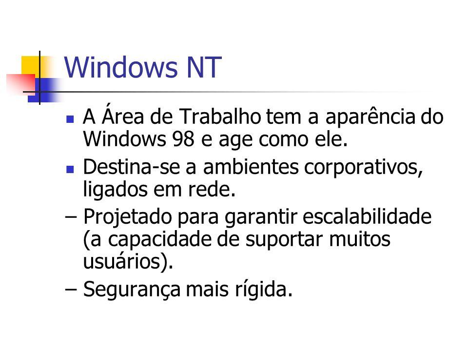 Windows NT A Área de Trabalho tem a aparência do Windows 98 e age como ele. Destina-se a ambientes corporativos, ligados em rede. – Projetado para gar