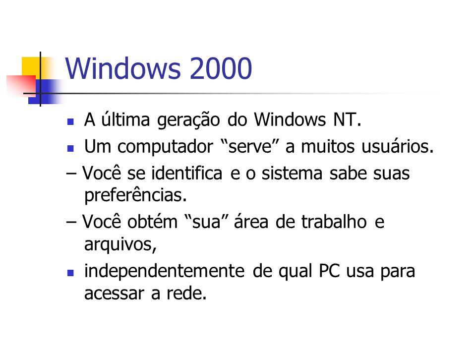 Windows 2000 A última geração do Windows NT. Um computador serve a muitos usuários. – Você se identifica e o sistema sabe suas preferências. – Você ob