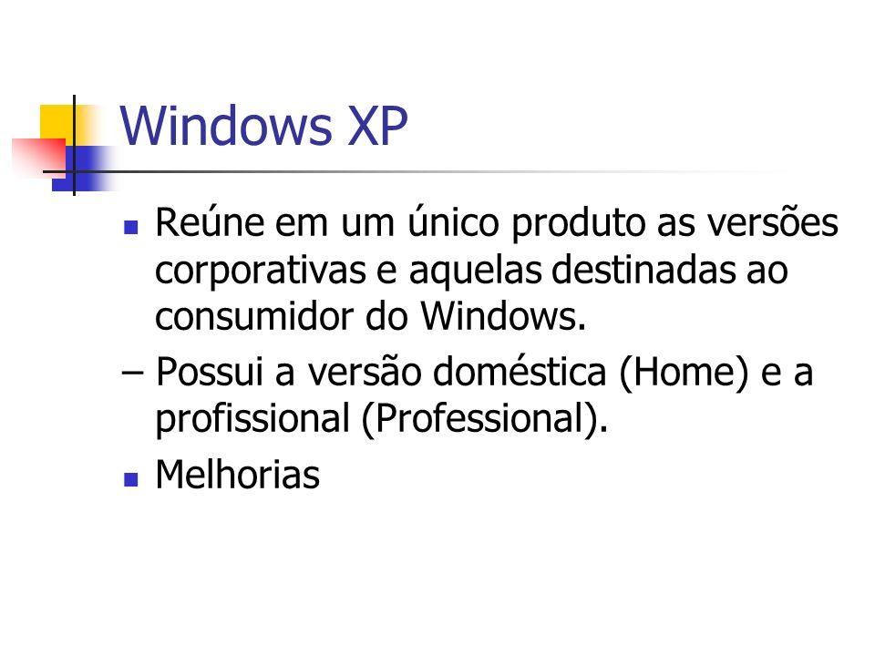 Windows XP Reúne em um único produto as versões corporativas e aquelas destinadas ao consumidor do Windows. – Possui a versão doméstica (Home) e a pro