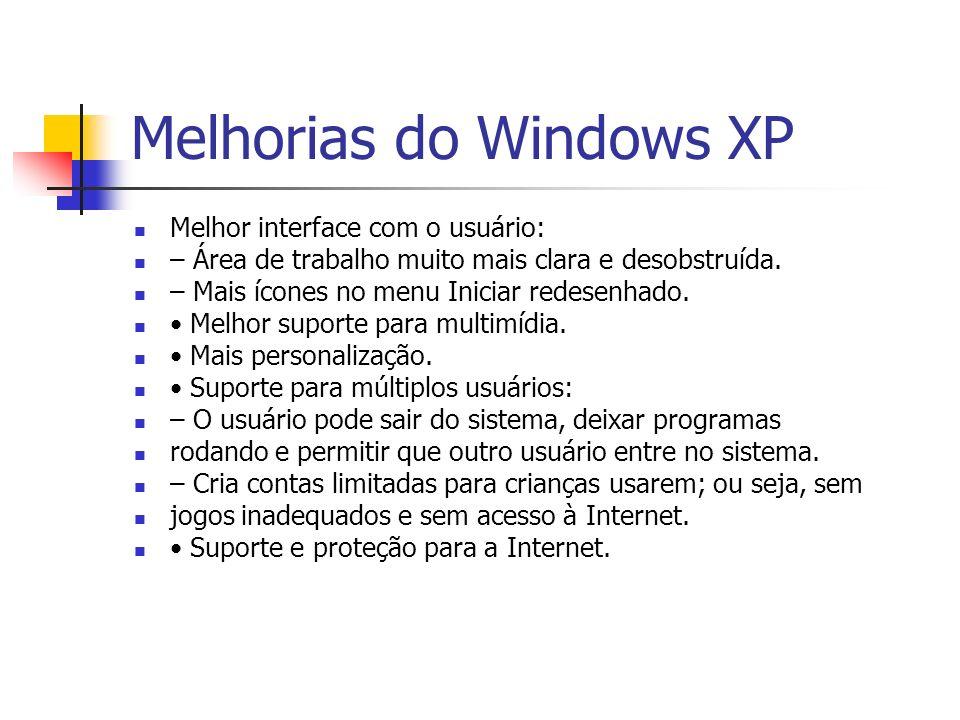 Melhorias do Windows XP Melhor interface com o usuário: – Área de trabalho muito mais clara e desobstruída. – Mais ícones no menu Iniciar redesenhado.
