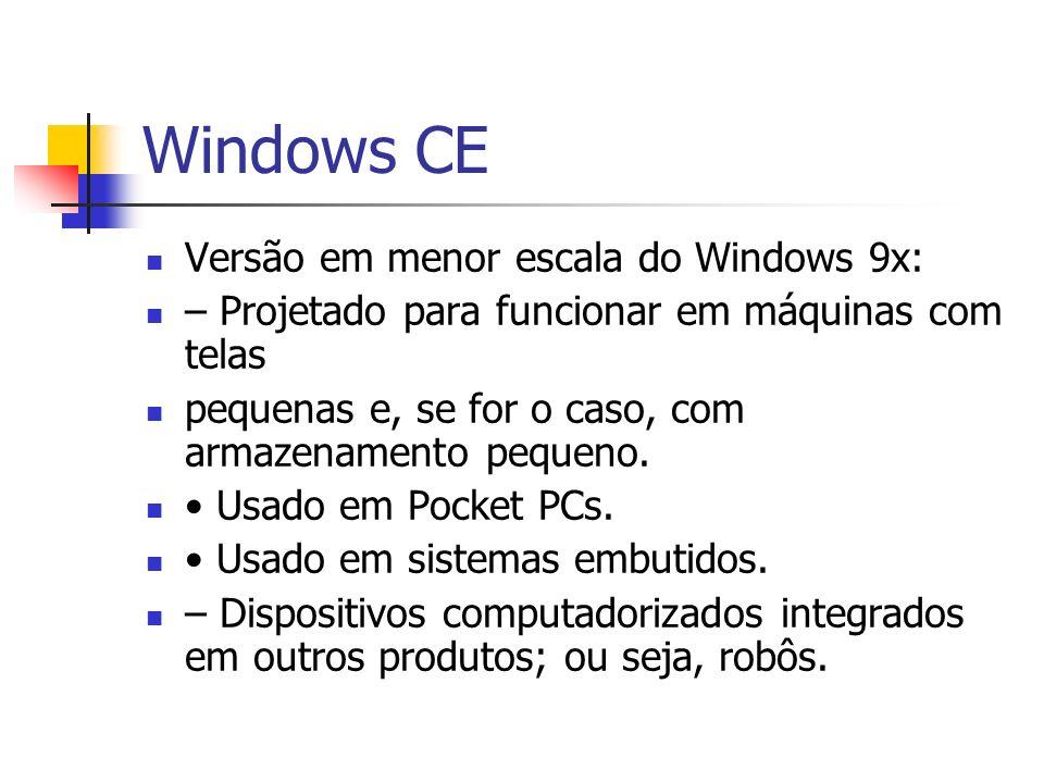 Windows CE Versão em menor escala do Windows 9x: – Projetado para funcionar em máquinas com telas pequenas e, se for o caso, com armazenamento pequeno