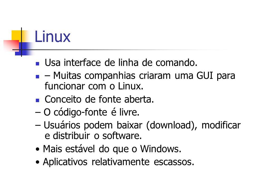 Linux Usa interface de linha de comando. – Muitas companhias criaram uma GUI para funcionar com o Linux. Conceito de fonte aberta. – O código-fonte é