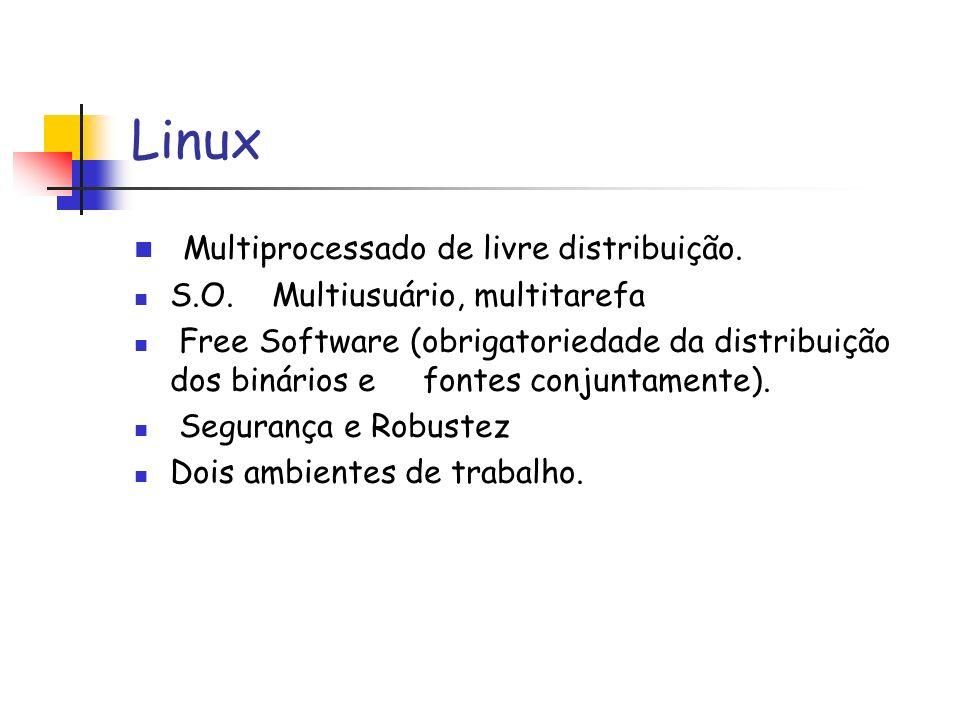 Linux Multiprocessado de livre distribuição. S.O. Multiusuário, multitarefa Free Software (obrigatoriedade da distribuição dos binários e fontes conju