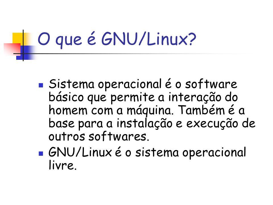 O que é GNU/Linux? Sistema operacional é o software básico que permite a interação do homem com a máquina. Também é a base para a instalação e execuçã