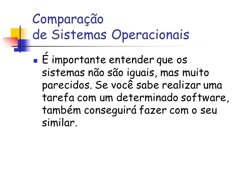 Comparação de Sistemas Operacionais É importante entender que os sistemas não são iguais, mas muito parecidos. Se você sabe realizar uma tarefa com um