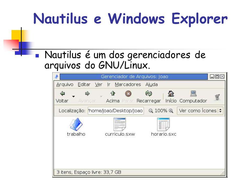 Nautilus e Windows Explorer Nautilus é um dos gerenciadores de arquivos do GNU/Linux.