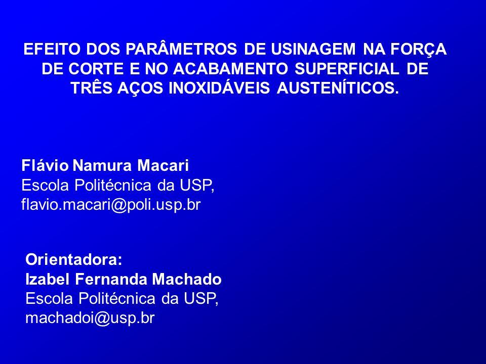 EFEITO DOS PARÂMETROS DE USINAGEM NA FORÇA DE CORTE E NO ACABAMENTO SUPERFICIAL DE TRÊS AÇOS INOXIDÁVEIS AUSTENÍTICOS. Flávio Namura Macari Escola Pol